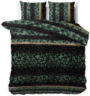 DomTextilu Kvalitná posteľná obliečka so zeleno čiernou farvou 140 x 200 cm 21916