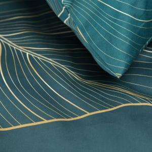 DomTextilu Kvalitné tmavo tyrkysové bavlnené posteľné obliečky so zlatými listami 3 časti: 1ks 160 cmx200 + 2ks 70x80 Tyrkysová 44487-208095