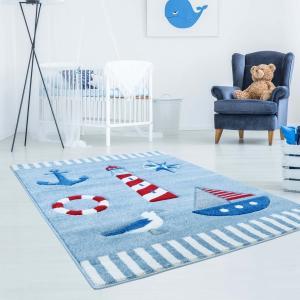 DomTextilu Kvalitný modrý detský koberec pre chlapcov s námorníckym motívom 41853-197261