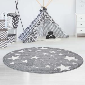 DomTextilu Kvalitný sivý okrúhly koberec STARS 41716-196993