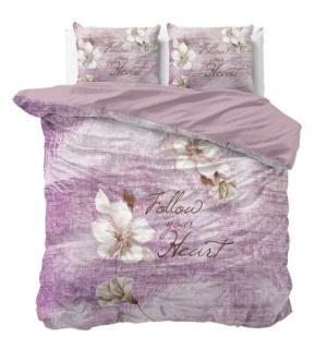 DomTextilu Luxusné bavlnené posteľné obliečky fialovej farby s nápisom 200 x 200 cm  Fialová 18135