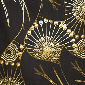 DomTextilu Luxusné čierne bavlnené posteľné obliečky so zlatým abstraktným vzorom 3 časti: 1ks 160 cmx200 + 2ks 70x80 Čierna 44584-208361