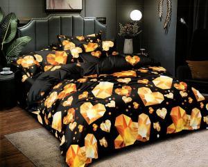 DomTextilu Luxusné čierne posteľné obliečky s diamantovými srdciami 4 časti: 1ks 160 cmx200 + 2ks 70 cmx80 + plachta Čierna 70 x 80 cm 38792-184505