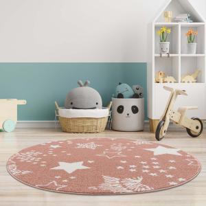 DomTextilu Milý detský ružový okrúhly koberec STARS 41645-196821