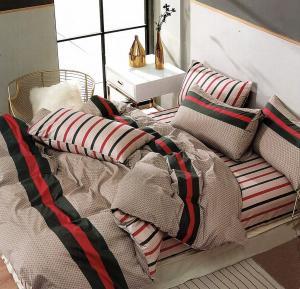DomTextilu Moderné béžovo červené bavlnené posteľné obliečky 4 časti: 1ks 160 cmx200 + 2ks 70 cmx80 + plachta Béžová 34644-185774