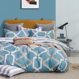 DomTextilu Moderné modré obojstrané bavlnené posteľné obliečky 4 časti: 1ks 200x220 + 2ks 70 cmx80 + plachta Modrá 40678-185799