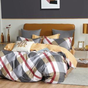 DomTextilu Moderné žlto sivé bavlnené kárované posteľné obliečky 3 časti: 1ks 180x200 + 2ks 70 cmx80 Žltá 40687-187035