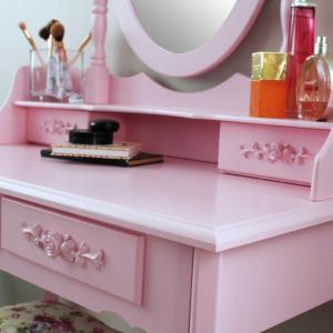 DomTextilu Moderný toaletný stolík so stoličkou v ružovej farbe 24613