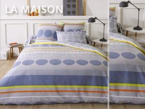 DomTextilu Modré posteľné obliečky s kruhmi a farebnými pásmi 140 x 200 cm  Modrá 5017