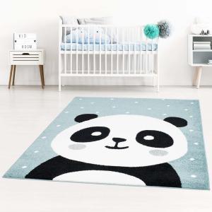 DomTextilu Modrý detský koberec pre chlapca rozkošná panda 42043-197488