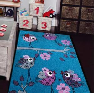 DomTextilu Modrý detský koberec s fialovými vtáčikmi 13069-157430