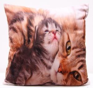 DomTextilu Obliečky na vankúše hnedej farby s mačkou a malým mačiatkom 40x40 cm 3135-124137