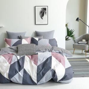 DomTextilu Obojstranné bavlnené posteľné obliečky sivo ružové 4 časti: 1ks 160 cmx200 + 2ks 70 cmx80 + plachta Sivá 40698-185851