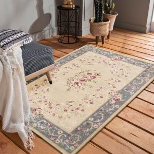 DomTextilu Ornamentálny sivo krémový vintage koberec 40995-187459