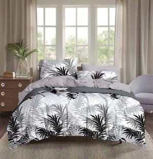 DomTextilu Pohodlné biele obliečky z mikrovlákna so sivými a čiernymi palmami 140x200 cm 23169-141629