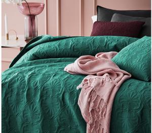DomTextilu Prešívaný tmavo zelený prehoz na posteľ 200 x 220 cm 40272