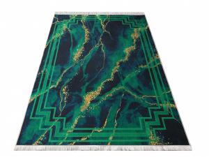 DomTextilu Protišmykový koberec s abstraktným vzorom v zelenej farbe 23942-143457