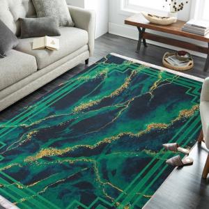 DomTextilu Protišmykový koberec s abstraktným vzorom v zelenej farbe 23942-143459