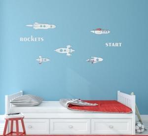 DomTextilu Rakety chlapčenské zrkadlové nálepky na stenu 8050