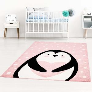 DomTextilu Ružový detský koberec pre dievčatko na hranie tučniak 42037-197464