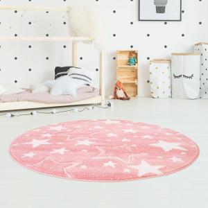 DomTextilu Ružový okrúhly koberec do dievčenskej izby STARS 41717-196996