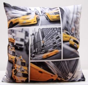 DomTextilu Sivé obliečky na vankúše s motívom žltého taxíka v New Yorku 40x40 cm 3190-124155