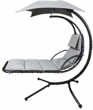 DomTextilu Sivé relaxačné závesné kreslo so strieškou 24681
