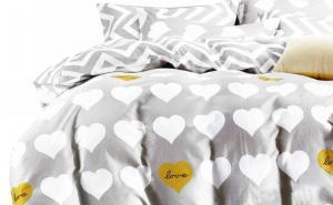 DomTextilu Sivé valentínske posteľné obliečky s bielymi srdiečkami Šírka: 160 cm | Dĺžka: 200 cm Sivá 70 x 80 cm 10230-28313
