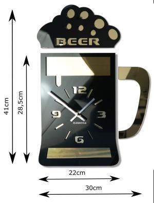 DomTextilu Štýlové hodiny na stenu čiernej farby s motívom pivového pohára 12769