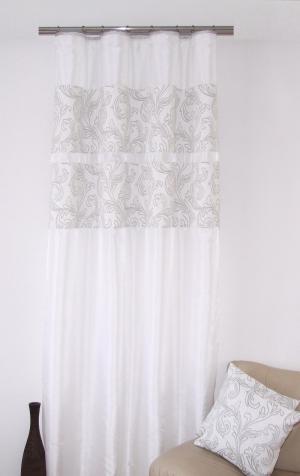 DomTextilu Štýlový záves k prehozom bielej farby s jemným sivým motívom 5578-14930