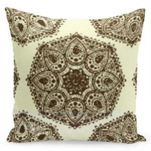 DomTextilu Vintage krémová obliečka zdobená hnedými ornamentmi 40 x 40 cm 22564-140077