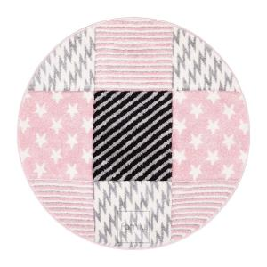 DomTextilu Vzorovaný ružový okrúhly koberec do detskej izby 41723-197010