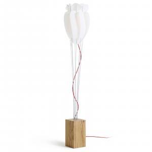 Domus Stojaca lampa Tulip, červený kábel, dub, biele
