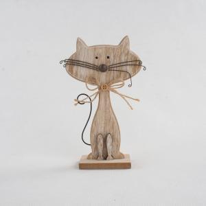 Drevená dekorácia v tvare mačky Dakls Cats, výška 18 cm