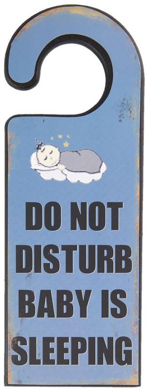 Drevená doska na kľučku Baby is sleeping - 11 * 1 * 30 cm