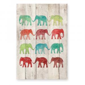 Drevená nástenná dekoratívna ceduľa Surdic Elephants Cue, 40×60 cm