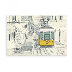 Drevená nástenná dekoratívna ceduľa Surdic Tabla Train, 40×60 cm