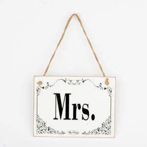 Drevená svadobná ceduľa Mrs. 20x15cm