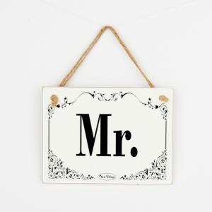 Drevená svadobná ceduľka Mr. 20x15cm