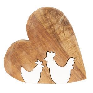 Drevená veľkonočné dekorácie Srdce s kohútikmi - 23 * 22 * 2 cm
