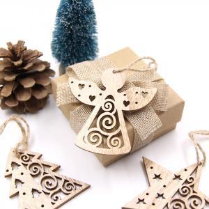 Drevená Vianočná dekorácie - 6 kusov Varianta: hviezda