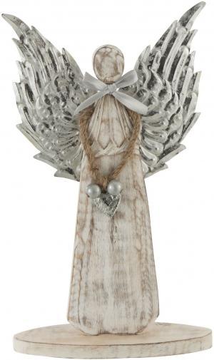 Drevený anjel zo striebornými kriedly - 18*31*2cm