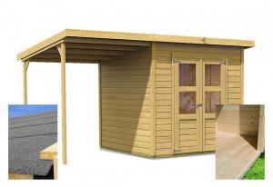 drevený domček KARIBU MERSEBURG 4 + prístavok 166 cm (14439) SET
