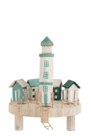 Drevený farebný svietnik maják s domčeky na štyri čajové svíčky- 30 * 30 * 40 cm