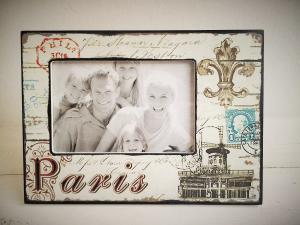 drevený fotorám Paris farebný 23,5 x 17,5 cm