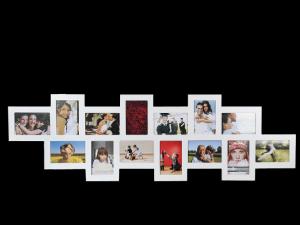 Drevený fotorámik na 14 fotiek biely, 115x35cm