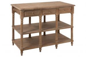 Drevený konzolový stolík so zásuvkami prírodné drow - 131 * 70 * 95 cm