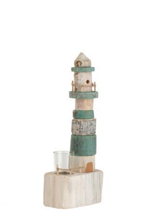 Drevený modro biely svietnik maják na jednu čajovú sviečku 14 * 9 * 38 cm