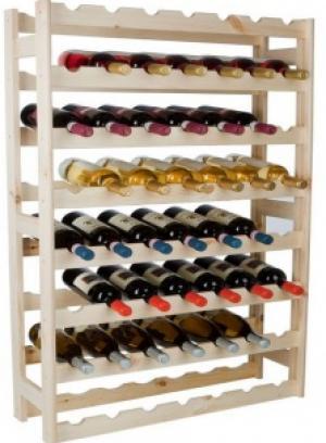 Drevený regál na víno pre 56 fľiaš