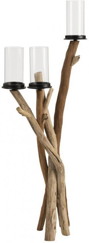Drevený svietnik na 3svíčky Branch - 20*11*50 cm